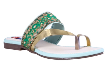stylish fancy Green Flat Sandals For women
