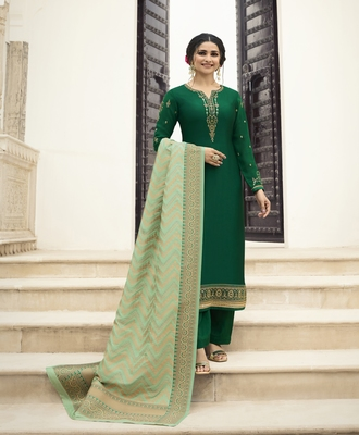 Green embroidered satin salwar