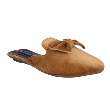 Women brown slip on  flats mules