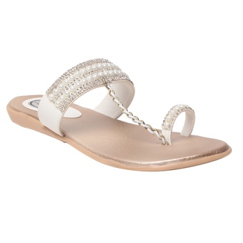 Women white one toe  Flat sandals