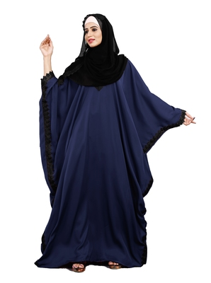Justkartit Navy Blue Color Casual Wear Plain Free Size Nida Abaya With Lace Work And Hijab