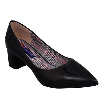 Women pink  colored block heel slip on pumps