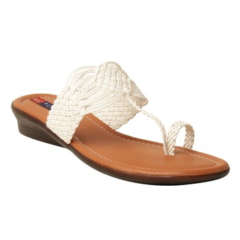 Women Synthetic White sandal