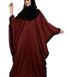 Justkartit Peach Color Islamic Long Free Size Nida Abaya With Lace Work And Dupatta