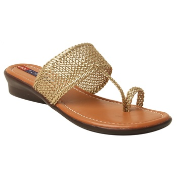 Women Synthetic Gold sandal