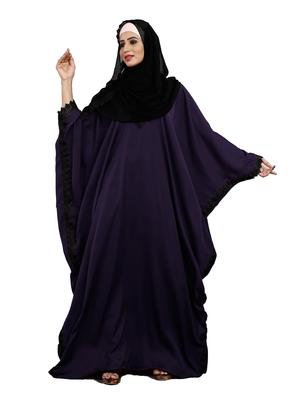 Justkartit Purple Color Plain Free Size Nida Abaya With Lace Work & Hijab
