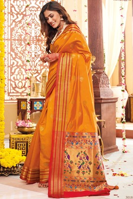 Yellow woven paithani silk saree with blouse