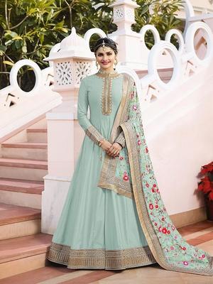 Light-teal embroidered silk salwar