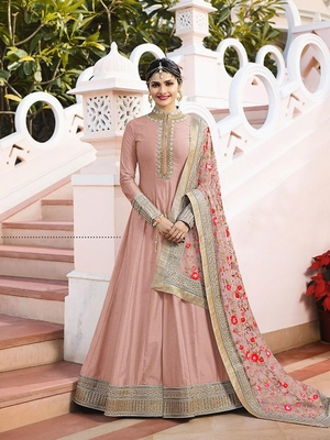 Light-onion-pink embroidered silk salwar