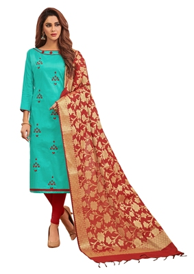 Sea-Green Embroidered Cotton Salwar