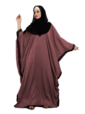 Justkartit Daily Wear Salmon Color Nida Abaya With Lace Work And Dupatta