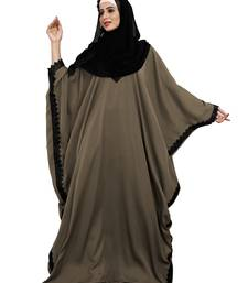 Justkartit Occasion Wear Stone Color Islamic Long Free Size Nida Abaya With Lace Work And Dupatta