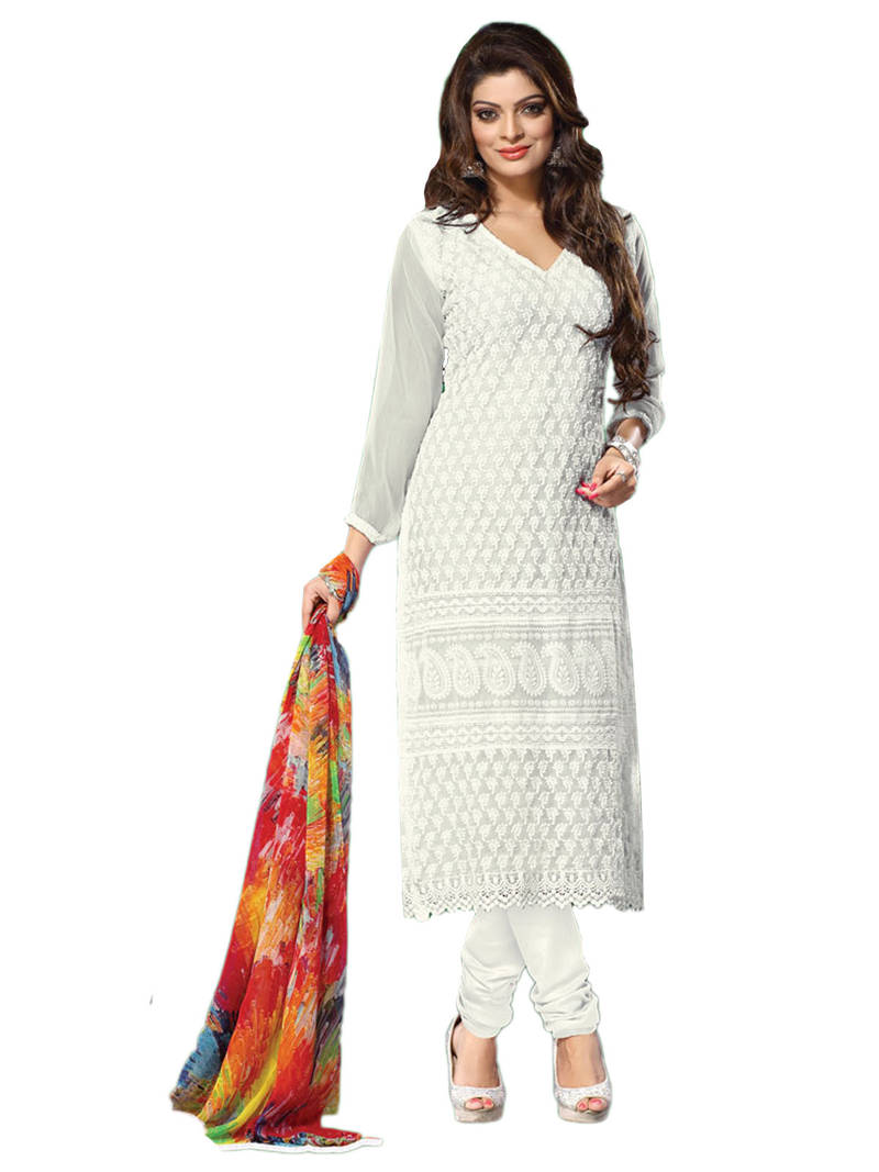 Buy Off White Embroidered Chiffon Unstitched Salwar With