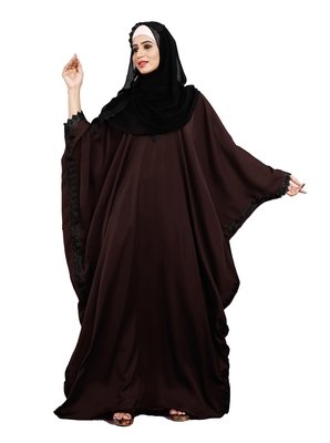 Justkartit Wine Color Plain Free Size Nida Abaya With Lace Work And Dupatta