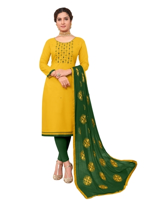 Yellow embroidered cotton salwar