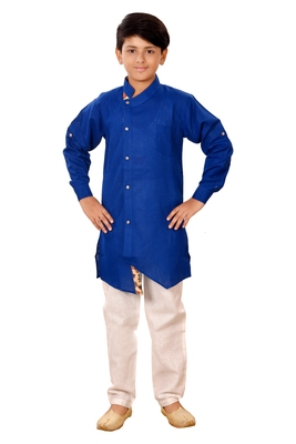 Blue plain cotton silk boys-kurta-pyjama