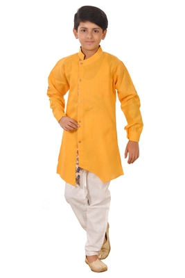 Yellow plain cotton silk boys-kurta-pyjama