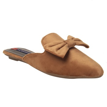 Women Brown Synthetic Flat