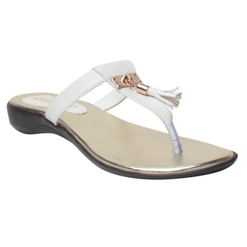 Women white Synthetic Flats