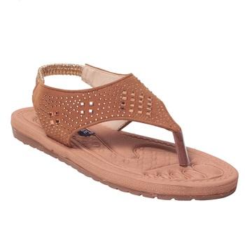 Women Synthetic Tan Sandal