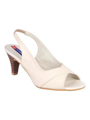 mesh Stylish Fancy beige heel Sandal For Women