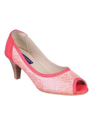 leatherette Stylish Fancy pink heel Sandal For Women
