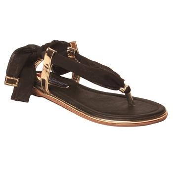 women Synthetic Black Sandals