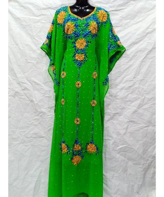 PARROT GREEN  COLOR EMBRODERY FARASHA
