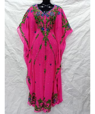 HOT PINK  COLOR EMBRODERY FARASHA