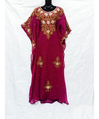 BURGUNDY  COLOR EMBROIDERY FARASHA