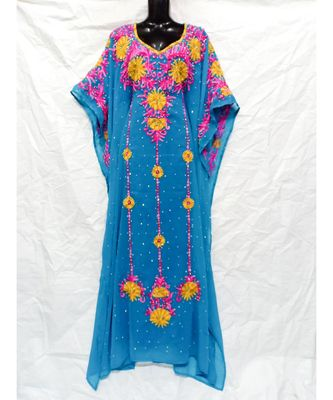 Sky Blue Color Embridery Kaftan