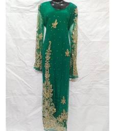 Green  Color Embroidery Farasha