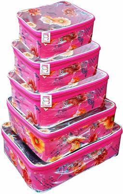 atorakushon® set of 5 Fabric Multi color Multipurpose Make Up Cosmetic Organizer Pouche