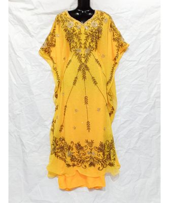 YELLOW  COLOR EMBRODERY FARASHA