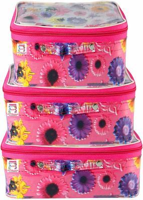 atorakushon® set of 3 Fabric Multi color Multipurpose Make Up Cosmetic Organizer Pouche
