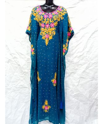Dark Sky Blue Color Embroidery Farasha