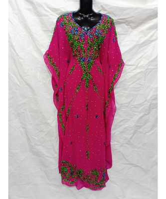 Pink Color Embroidery Farasha