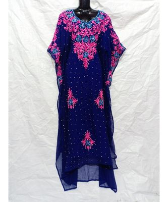 Dark Blue Color Embroidery Farasha
