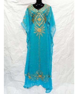 Sky Blue Color Embroidery Farasha