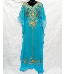 Sky Blue Color Embroidery Farasha