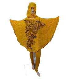 Yellow Color Handmade Poncho Syle Abya With Scarf And Legging