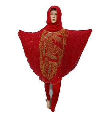 Red Color Handmade Poncho Syle Abya With Scarf And Legging