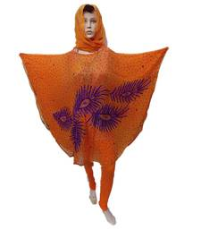 Orange  Color Handmade Poncho Syle Abya With Scarf And Legging