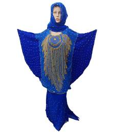 Blue Color Handmade Poncho Syle Abya With Scarf And Wrapper