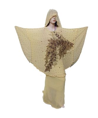 COFFEE COLOR HANDMADE PONCHO SYLE ABYA WITH SCARF AND WRAPPER