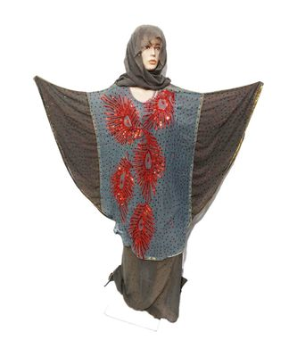 Grey Color Handmade Poncho Syle Abya With Scarf And Wrapper