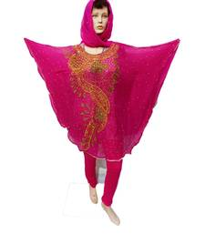 Pink  Color Handmade Poncho Syle Abya With Scarf And Legging