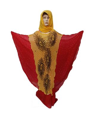 red AND YELLOW COLOR HANDMADE PONCHO SYLE ABYA WITH SCARF AND WRAPPER