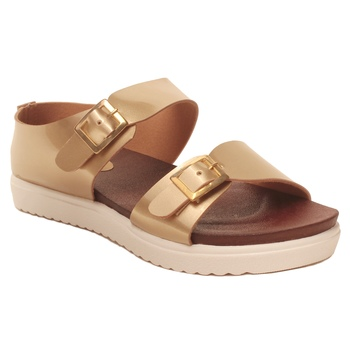 women Synthetic Gold Sandals