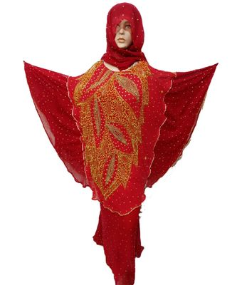 red COLOR HANDMADE PONCHO SYLE ABYA WITH SCARF AND WRAPPER